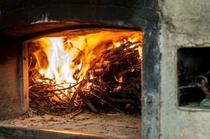 Firing the wood stove