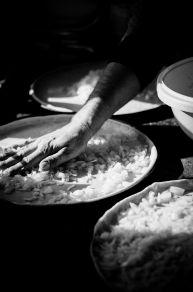 Preparing onion cakes